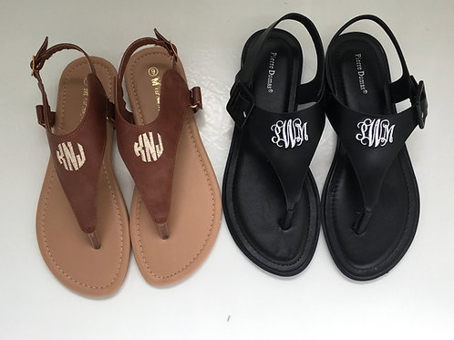 Monogram T-Strap Sandals