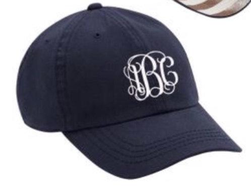 Navy monogrammed cap