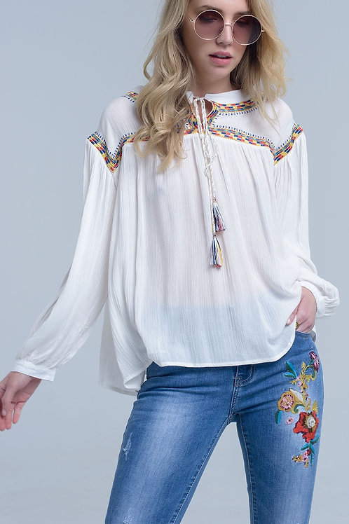 Embroidered Cream Blouse