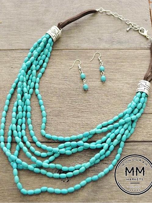 Beaded Turquoise Necklace Set