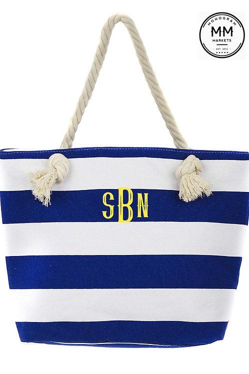 Nautical stripe monogrammed tote