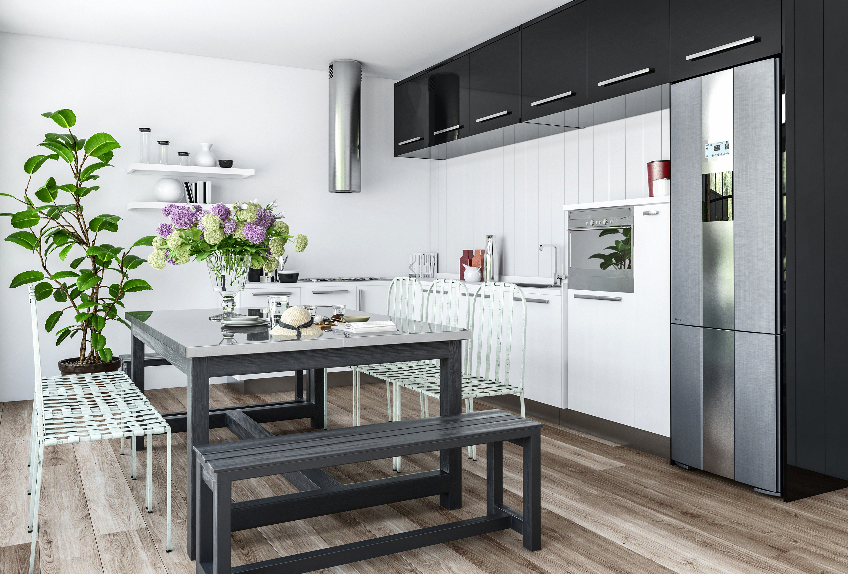 Modern kitchen in minimalist interior design with black and white furniture and dining table with ch