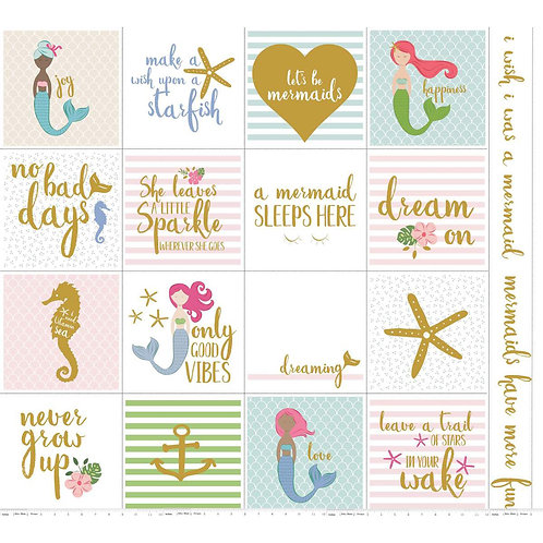 Let's Be Mermaids Panel White Sparkle