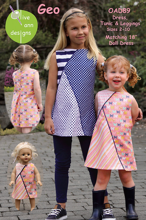 Dress Tunic and leggings with Matching 18' doll dress by Olive Ann Designs