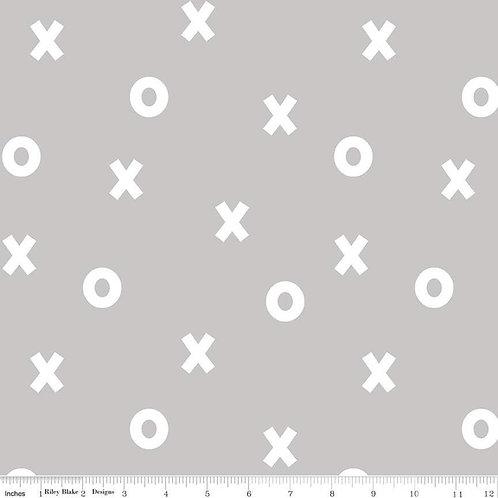 Double Gauze Xs & Os Grey, by Riley Blake Designs