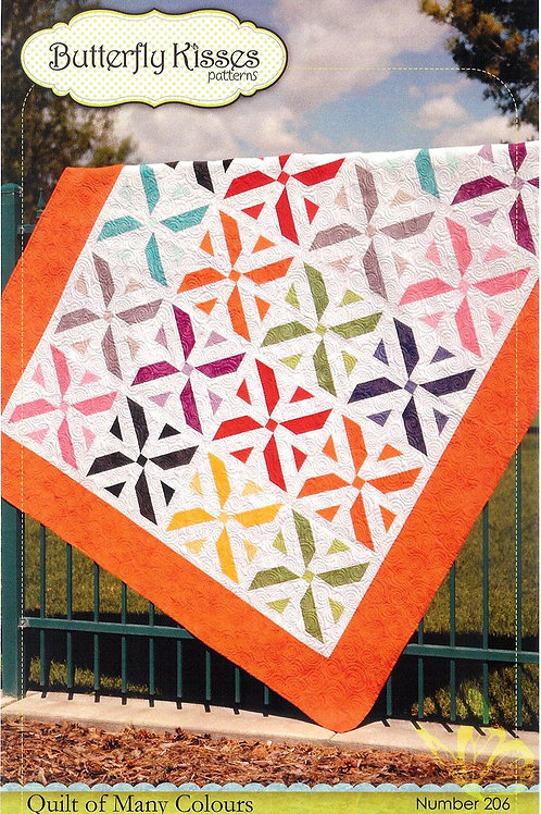 Quilt Pattern - Quilt of Many Colours/ Colors paper sewing pattern/ instruction