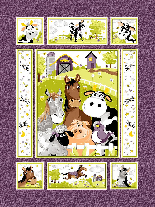 Purple Barnyard Buddies Panel