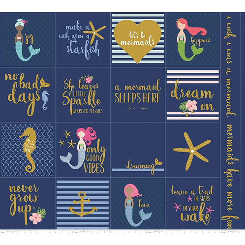 Let's Be Mermaids Panel Navy Sparkle