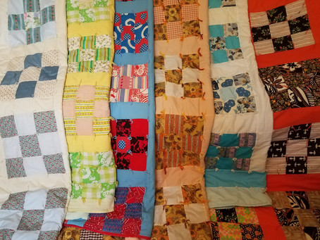 Six nine patch quilts made by Mary Hansen