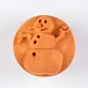 SCL033  4 CM ROUND STAMP, SNOWMAN