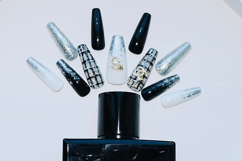 Luxury Black and White Nails