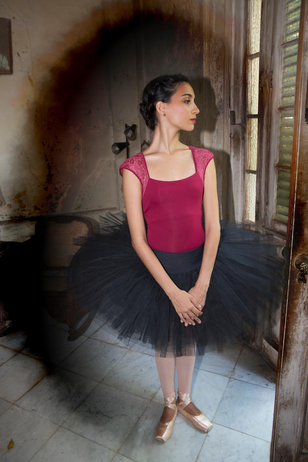 Ballerina in old mansion, Havana