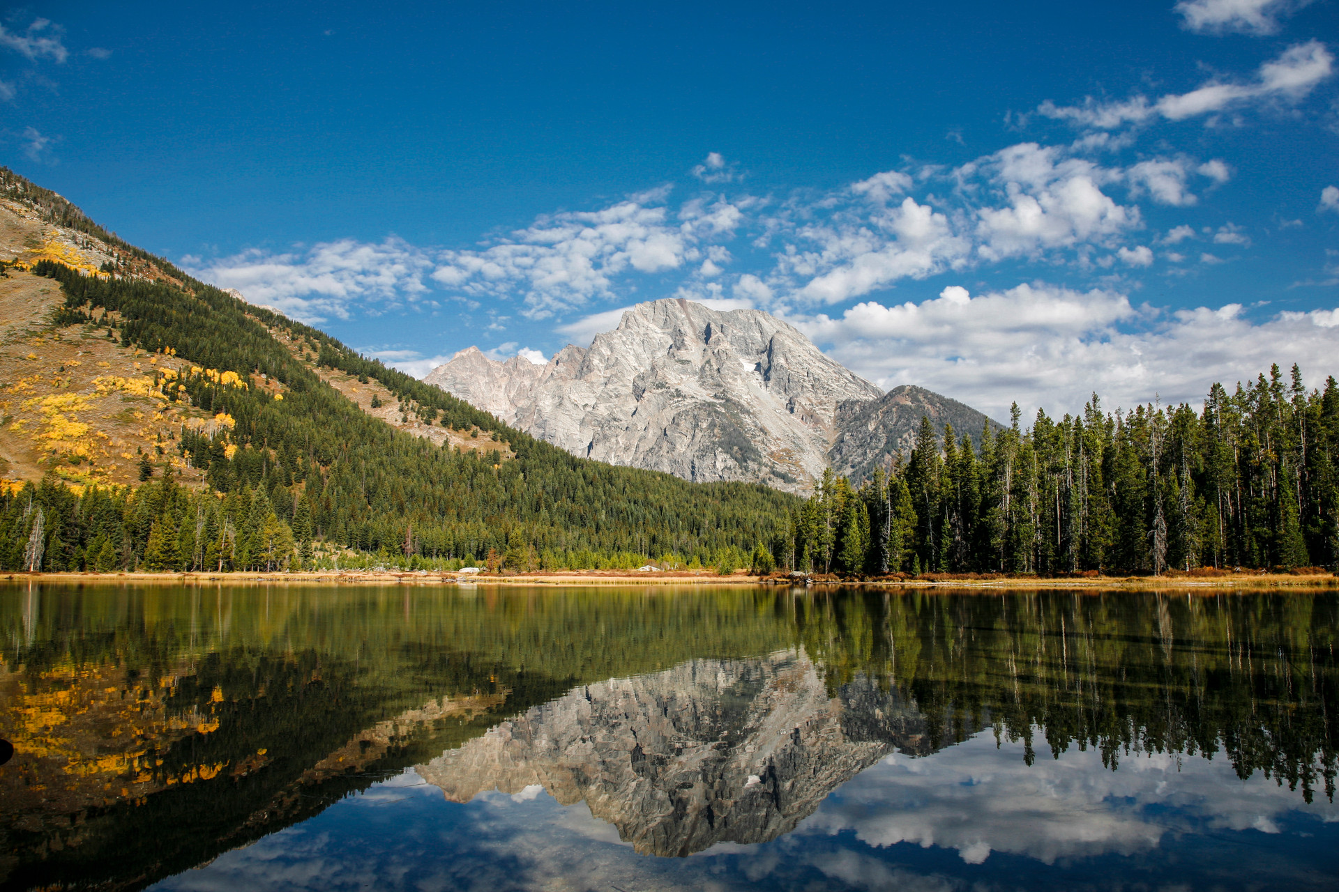 Mt. Moran and the Tetons reflected in Jackson Lake, Wy
