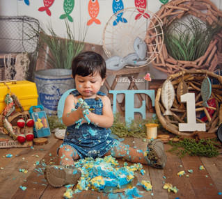 Hunter's Cake Smash - Kinley Rose Photography, Ludowici, GA Newborn Photographer