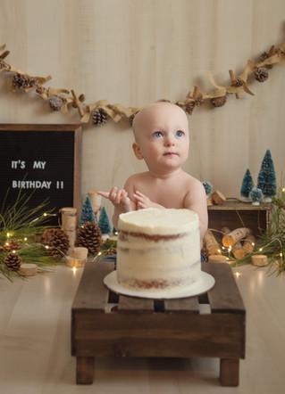 Eric's Cake Smash + Family - Kinley Rose Photography, Ludowici, GA Newborn Photographer