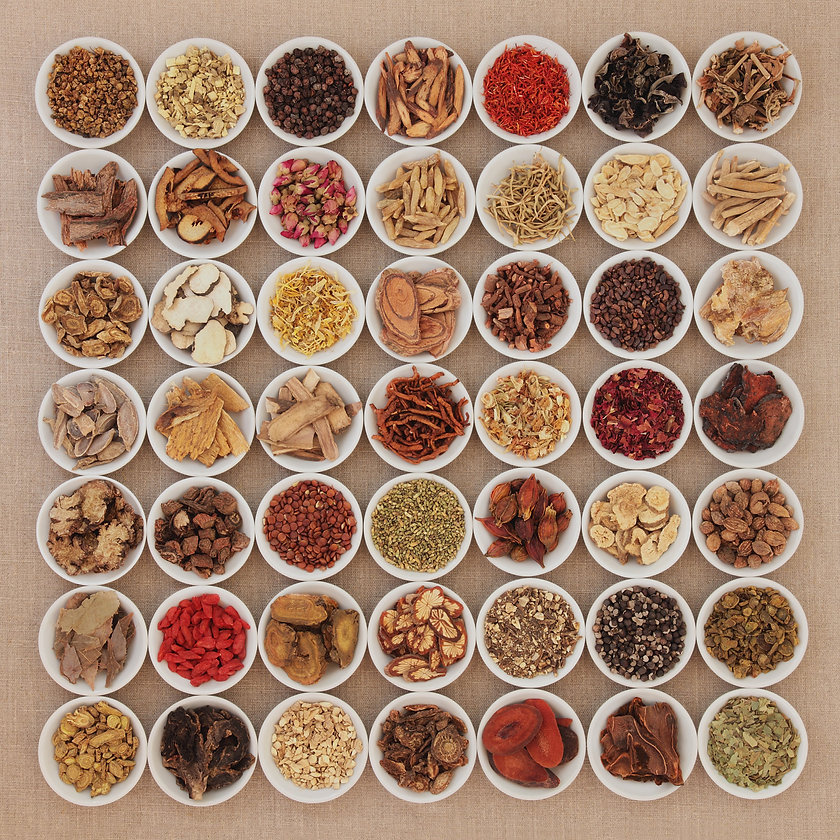 Traditional chinese herbal medicine ingredients in white china bowls over hessian background._edited