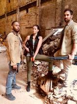 "on set ""Beast II"" with Ben milord and  Rosa Belinda"