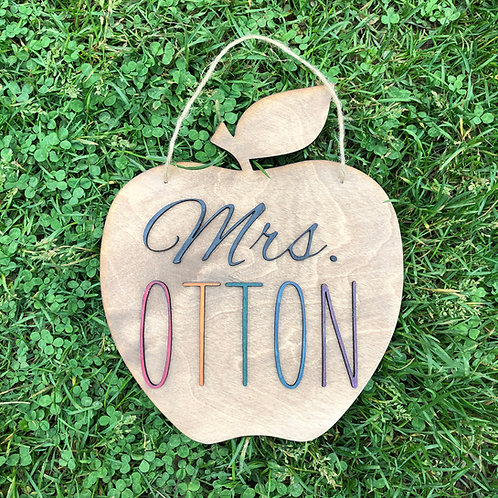 Teacher Apple Door Sign