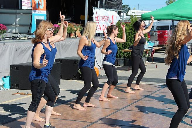 Yoga instructors at Ancaster Fair