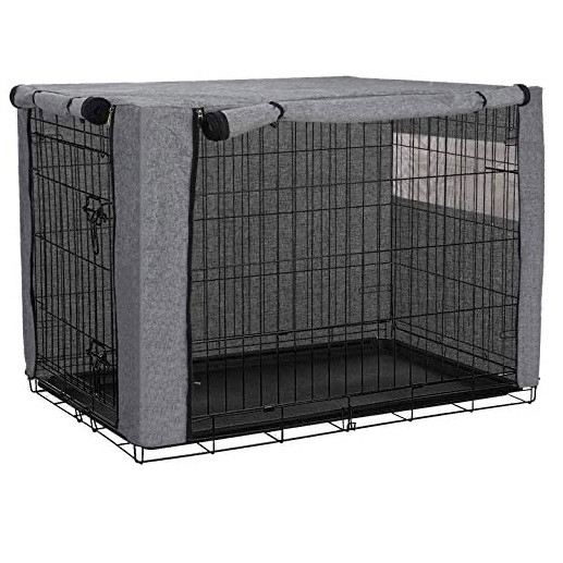 A grey dog crate cover with zipped sides and a mesh windoe