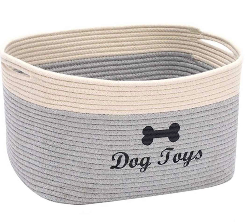 Rustic dog toy basket