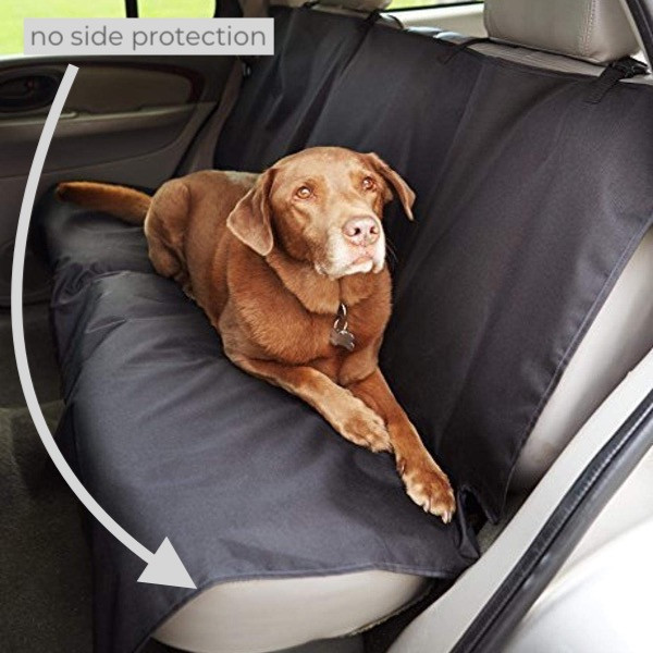 Dog laying on amazon basics car seat cover featuring headrest straps