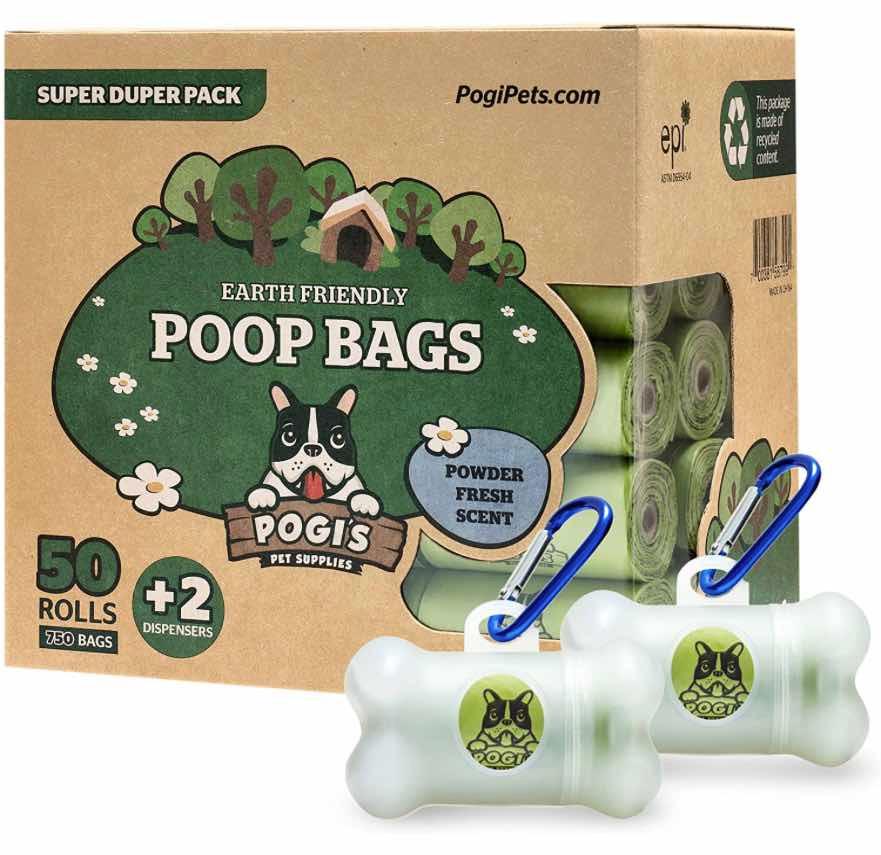 Pogi Dog Poop Bags with poo bag dispensers