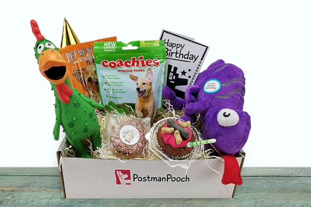 Contents of Postman Pooch dog gift box