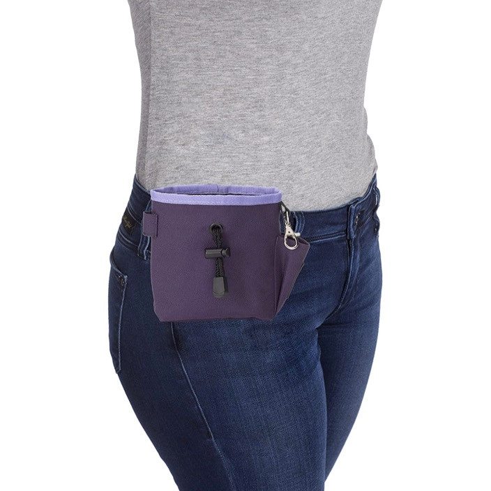 Company of animals purple dog treat pouch shown on a waistband