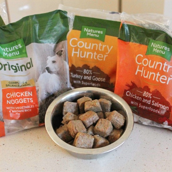 natures menu raw dog food nuggets and packaging
