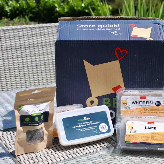 Bella and Duke raw dog food and packaging