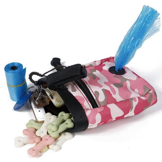 camouflage design dog treat bag with treats, blue poo bags and car keys