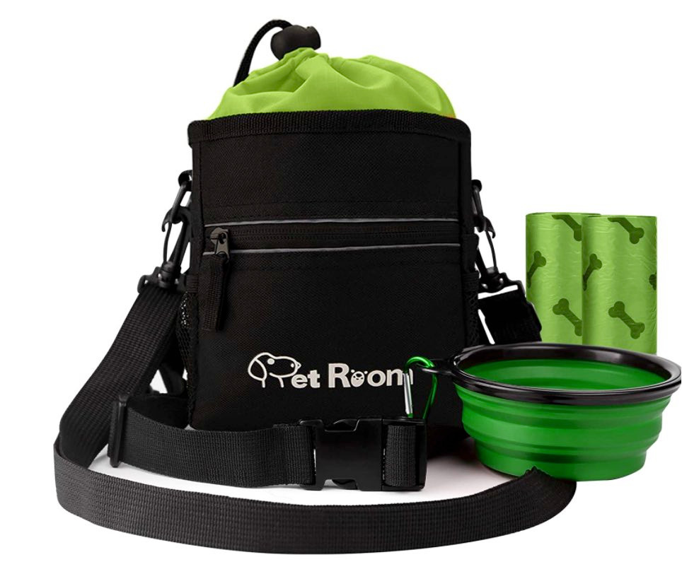 Pet room upgraded black dog walking draw-string treat bag with silicone water bowl and two poo bag rolls