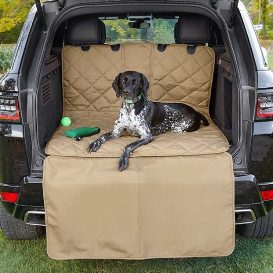 dog lying on Orvis car boot cover