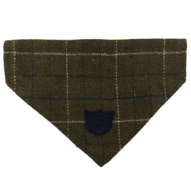 Hugo & Hudson dog bandana in dark green tweed