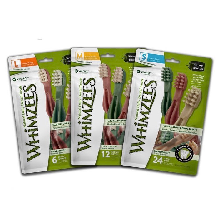 Three packs of resealable Whimzee dog treats