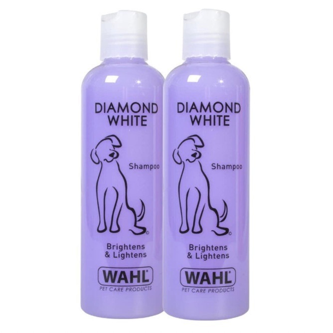 A bottle of whitening shampoo for dogs