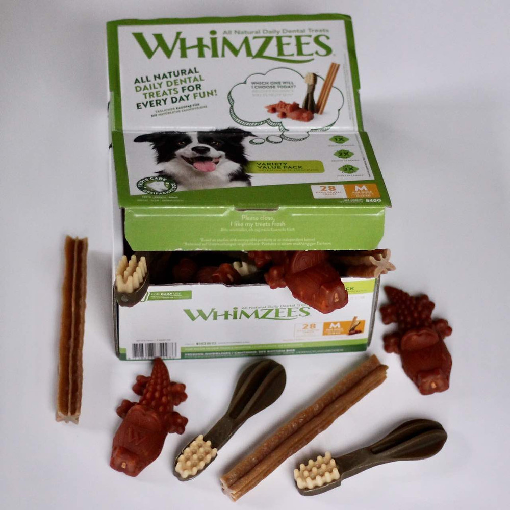 Whimzees dog chews in a variety box