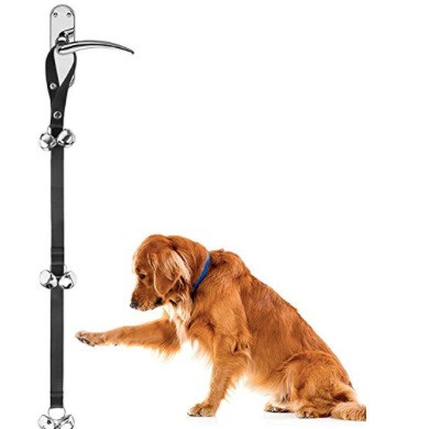 Hanging doorbells for dog toilet training