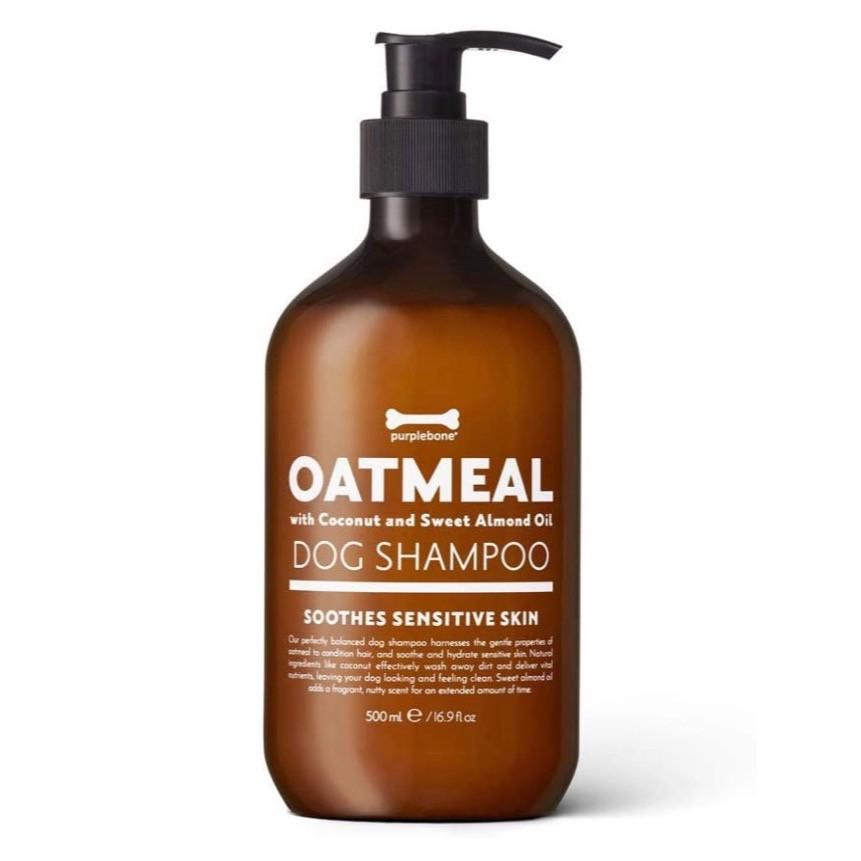 Purple bone dog shampoo in a pump dispenser