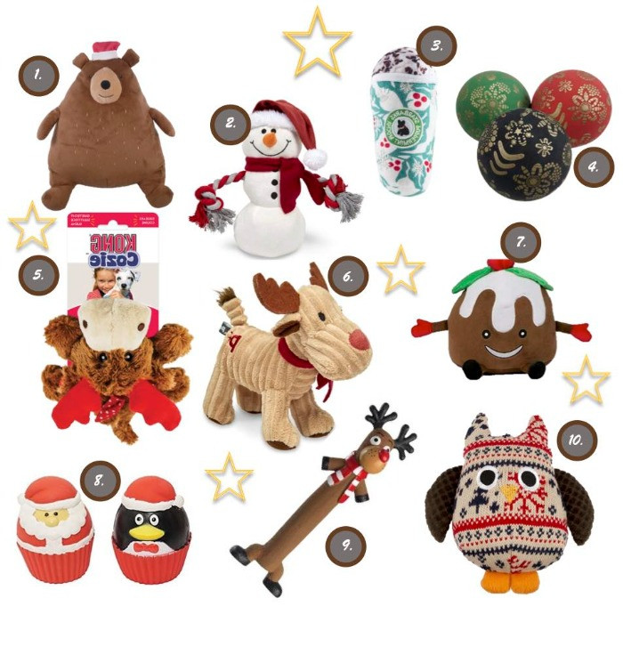 A selection of Christmas toys for dogs