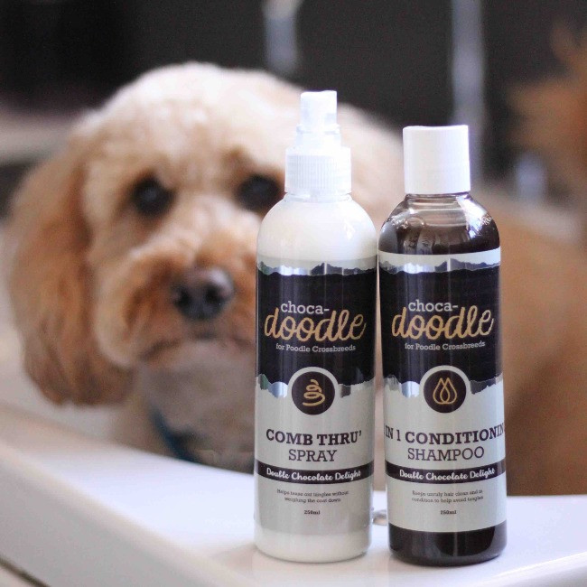 Dog in the bath with choca-doodle shampoo and choco-doodle comb-thru spray for dogs