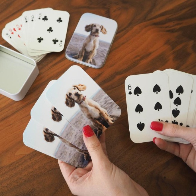 Customised playing cards with dog photograph