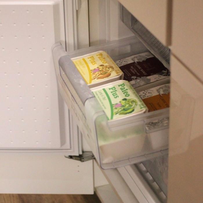 Paleo ridge complete raw dog food in a freezer