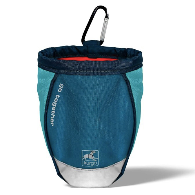 Kurgo blue and teal coloured dog treat bags with a carabiner hook