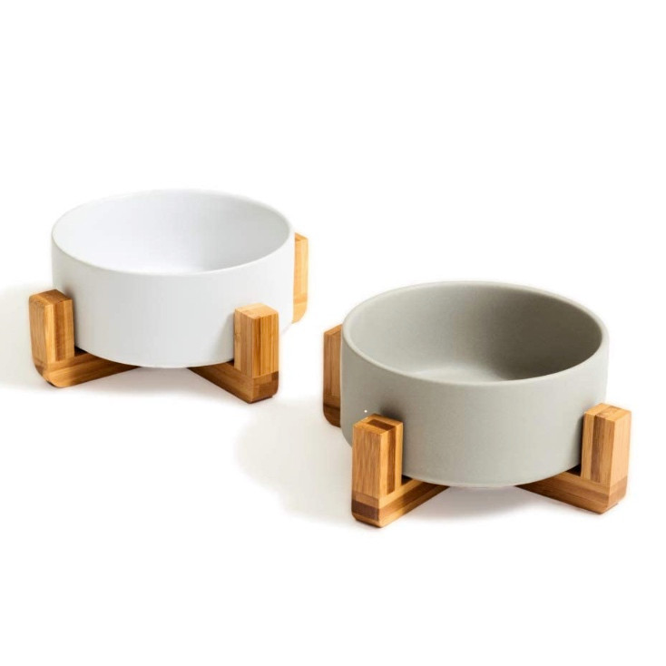 bamboo dog bowl stand with ceramic bowls in grey and white