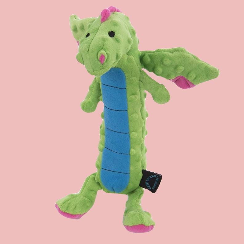 GoDog skinny dragon soft dog toy