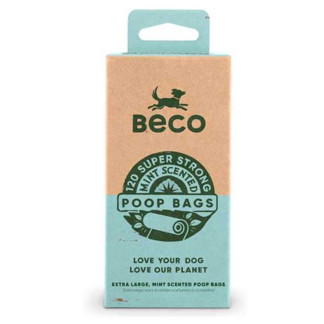 Beco biodegradable dog poop bags in mint scent