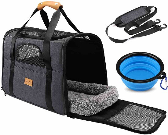 Morpilot collapsible fabric dog carrier with shoulder strap and water bowl
