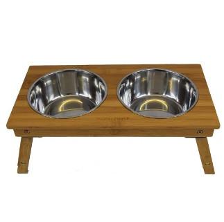 bamboo raised dog bowl stand